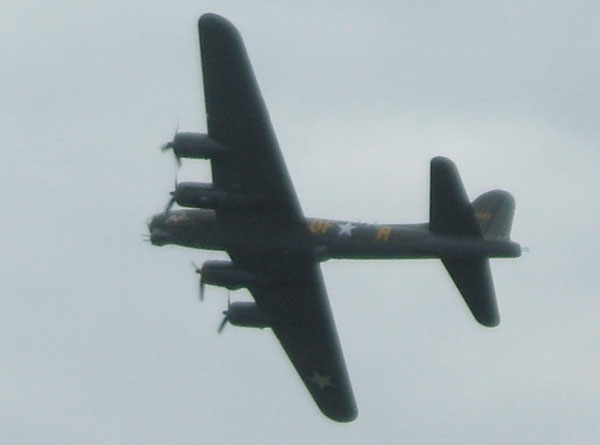 Sally B flying.