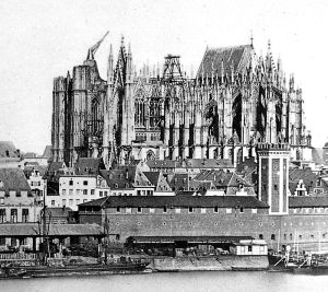 Unfinished Cologne cathedral, 1856 with ancient crane on south tower.